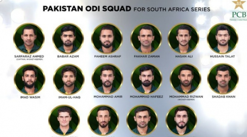 Pakistan ODI Squad For South Africa Series 2019