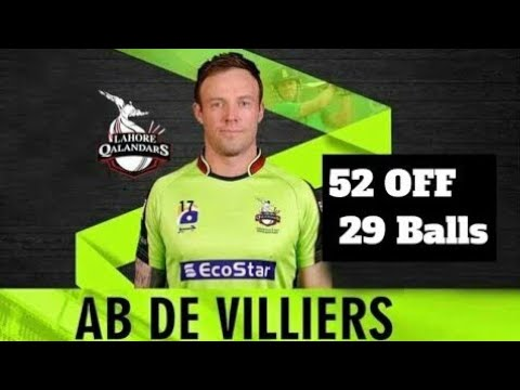 AB de Villiers batting PSL 4 Match 10 Lahore Qalandars vs Multan Sultan 2019-52 RUNS ON 29 BALLS – Live Cricket Streaming-PSL 2019