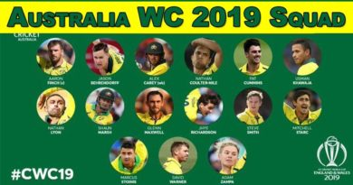 Australia 15 member team squad announced for world cup 2019