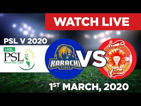 PTV Sports Live match PSL 2020-Islamabad United vs Karachi Kings